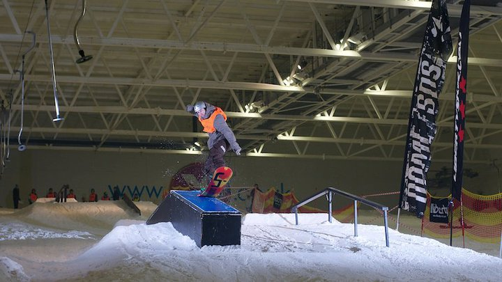 Rowan Springfield Doing some Indoor Snowboard tricks
