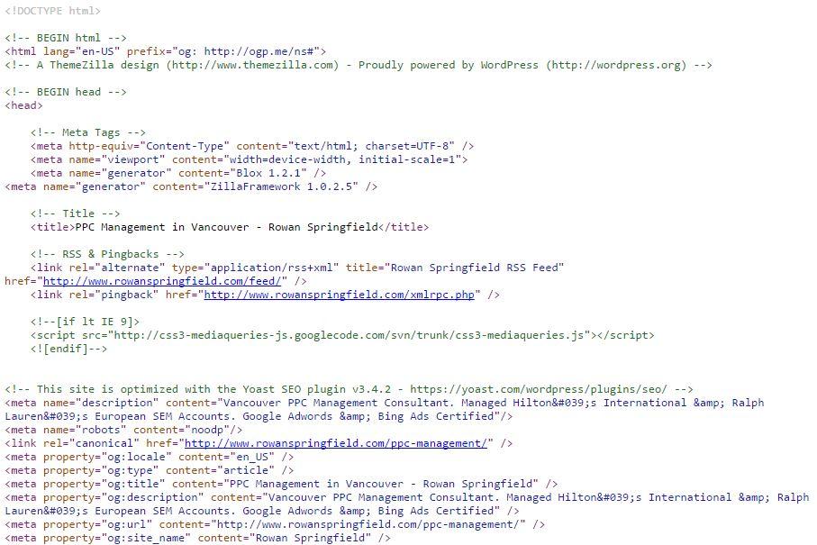 SEO Code Screenshot