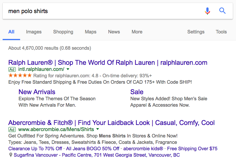 Search engine results of Ralph Lauren search